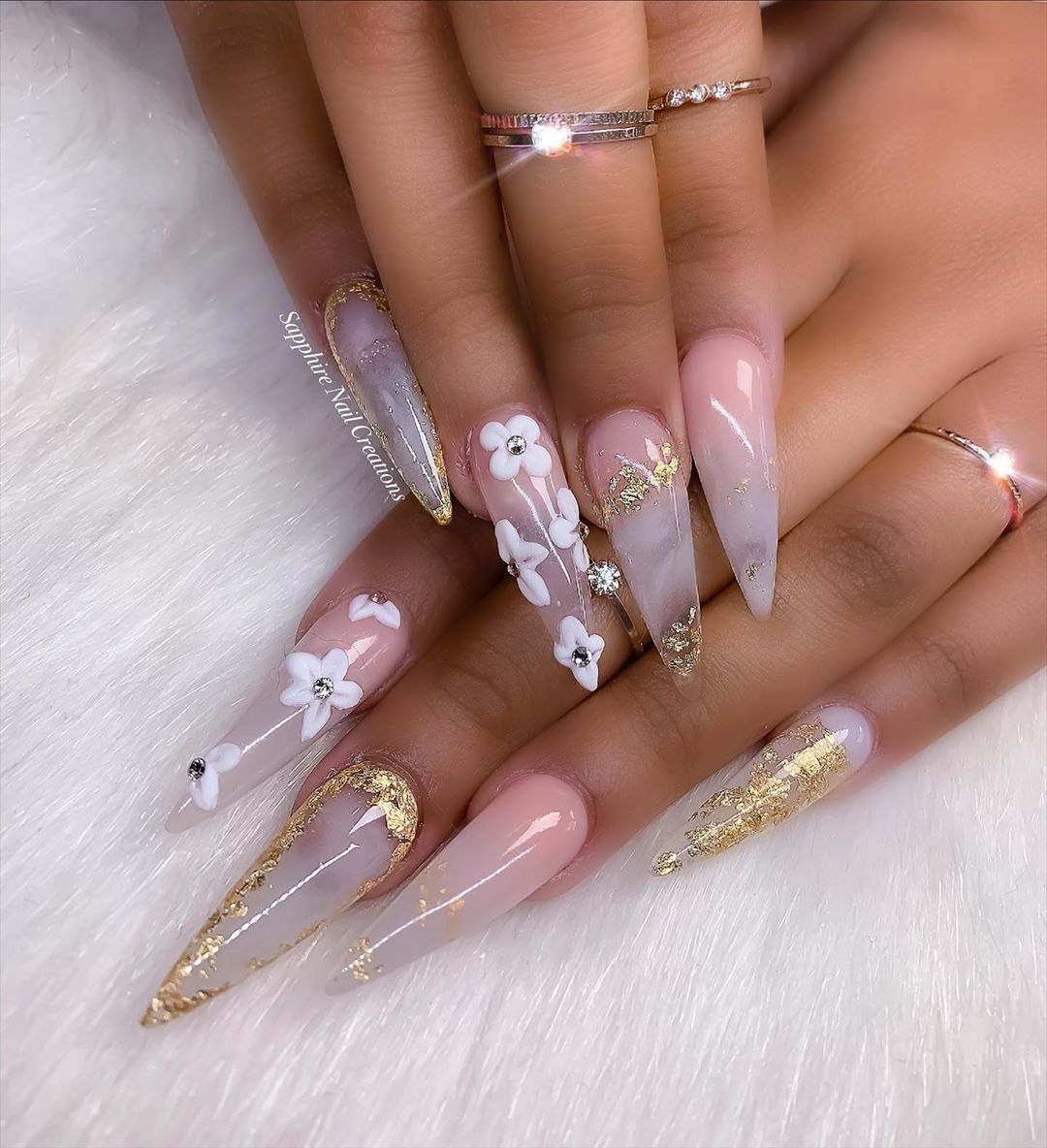 Acrylic Nails Stick On Nails On Instagram Sometimes We Go For Stiletto Nails Sapphirenailcreations Art N Stick On Nails Sapphire Nails Nails