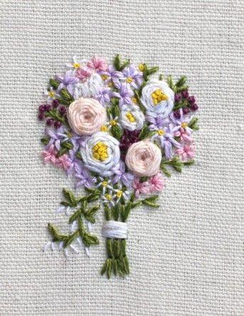 bouquet fleur ruban broderie bordados de fabelmon pinterest broderie broderie au ruban. Black Bedroom Furniture Sets. Home Design Ideas