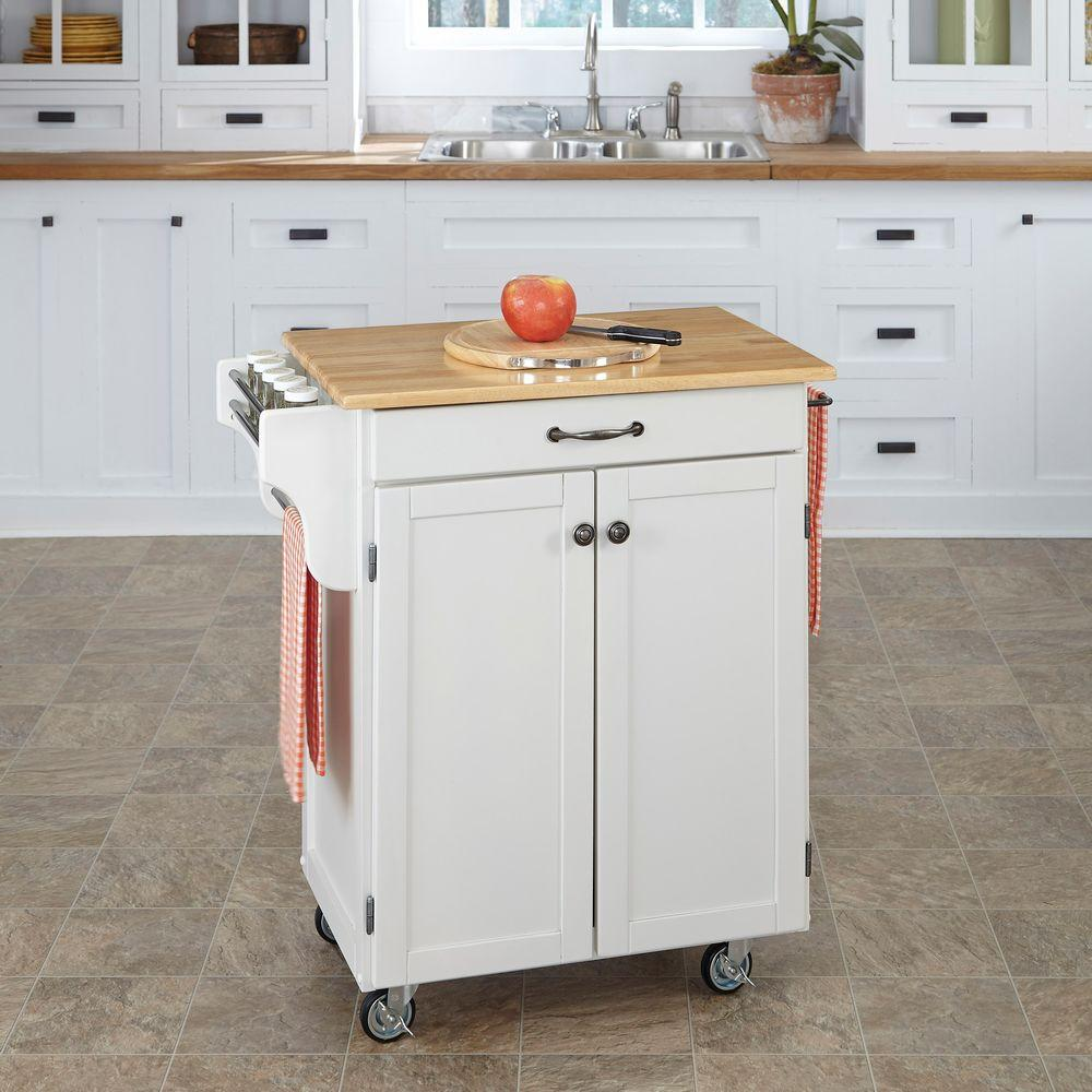 Homestyles Cuisine Cart White Kitchen Cart With Natural Wood Top