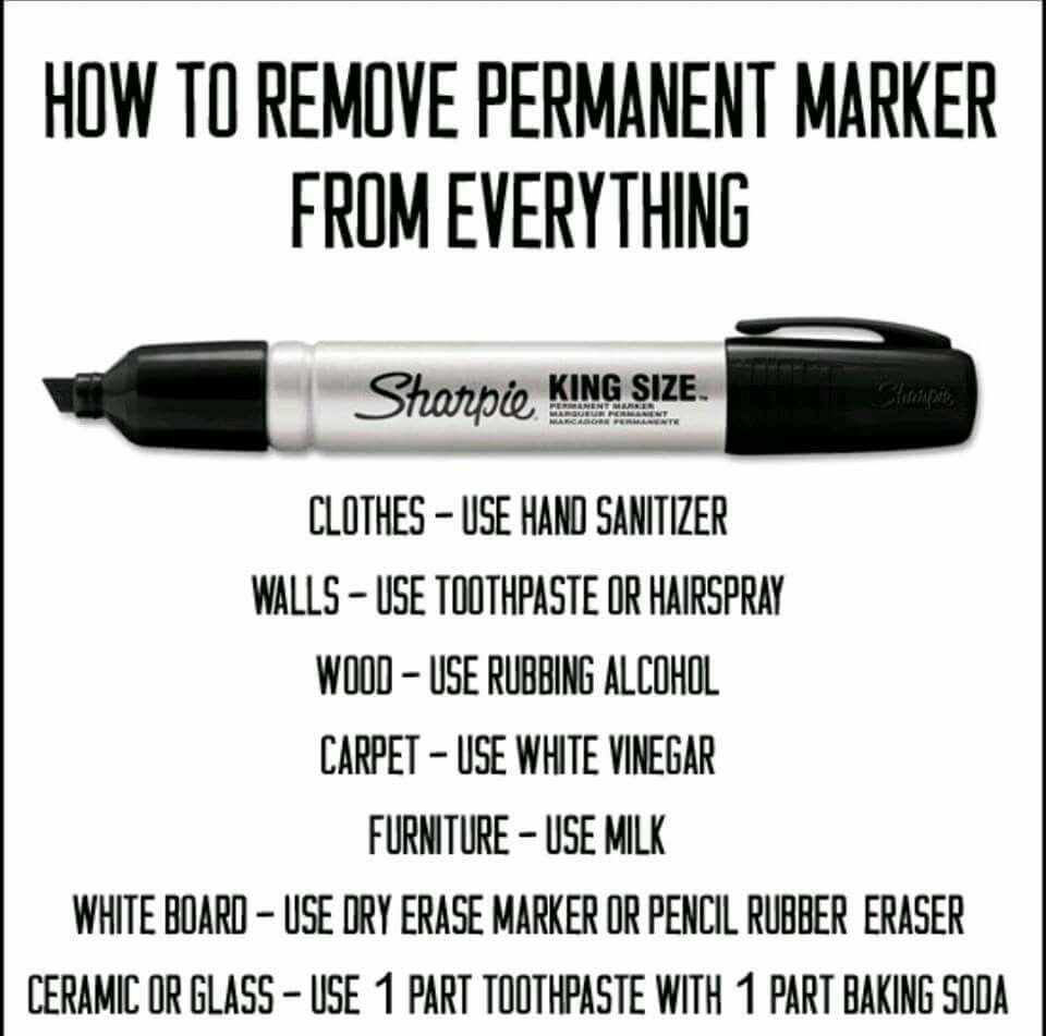 Removal Of Permanent Marker From Clothes Walls Wood Carpet Furniture White Board How To Remove Sharpie Cleaning Hacks Remove Permanent Marker