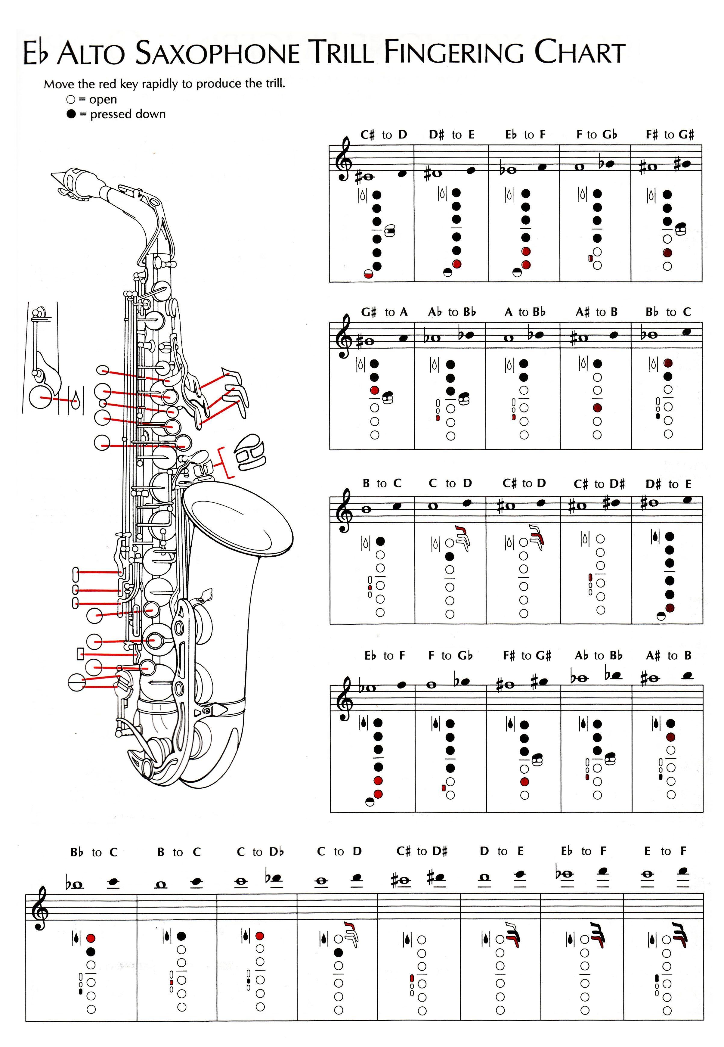 Alto Saxophone Keys Chart Instrument fingering bchartsb – Saxophone Fingering Chart