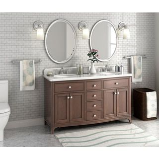 60-inch Malibu Pure White Double Sink Bathroom Vanity with Carrara Marble  Top | Overstock