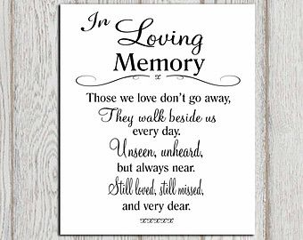 In Remembrance Quotes Of A Loved One Unique Wedding Sign Memorial Plaque Memorialhandmadeskproducts