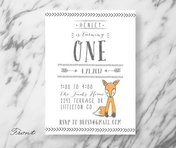 Birthday Invitation - Woodland Creature - Woodsy - Forest - Illustrated - Fox theme - First Birthday - Invitation - Birthday Party- by SubstationPaperie