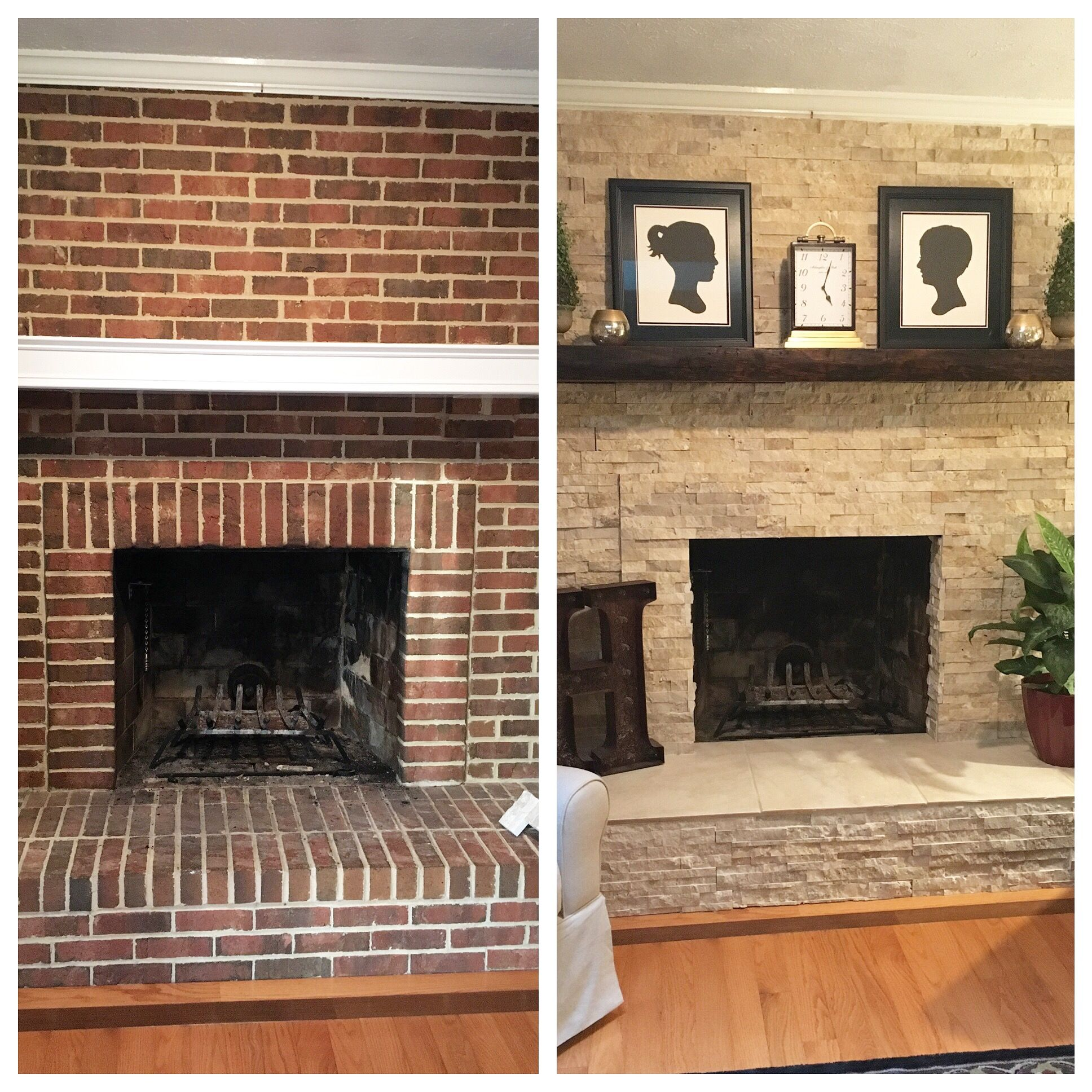 Fireplace makeover before after Fireplace Pinterest