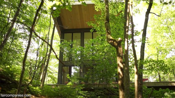 850 Sq Ft Modern Cabin in the Forest ~ Stairs Behind Kitchen