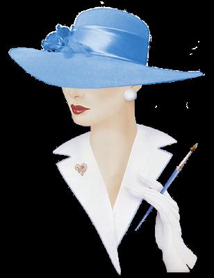 Alfabeto animado Dama Elegante con sombrero celeste.  dcaafeafacd
