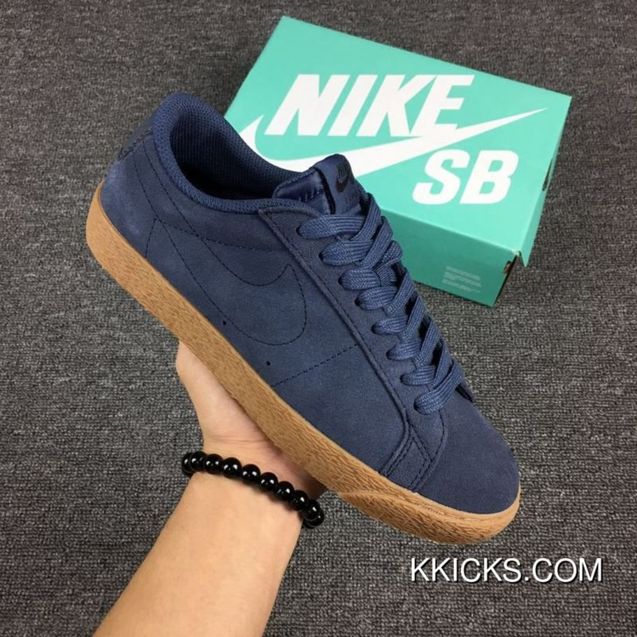 cad99ee0c2353 Nike SB Zoom Blazer Low Suede Mens 864347-400 Thunder Blue Gum Medium Brown-Thunder  Blue New Release
