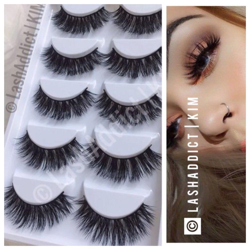d07e77f817d 100% Mink Lashes Eyelashes 3D WISPY Eyelash Extension 5 Pairs New Makeup Fur  #100Mink
