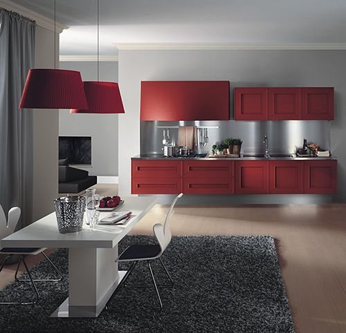 red cabinets, light grey wall