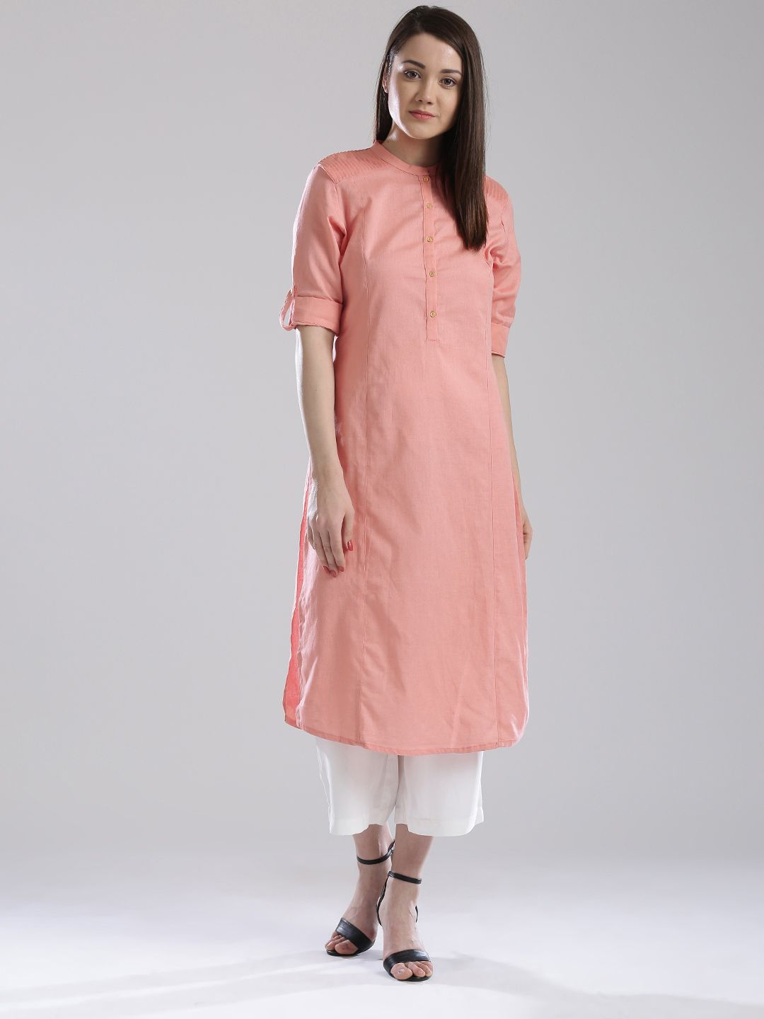 dbfe31d5cb9 Buy W Women Navy Solid Pathani Kurta With Tucks - - Apparel for Women from  W at Rs. 1499