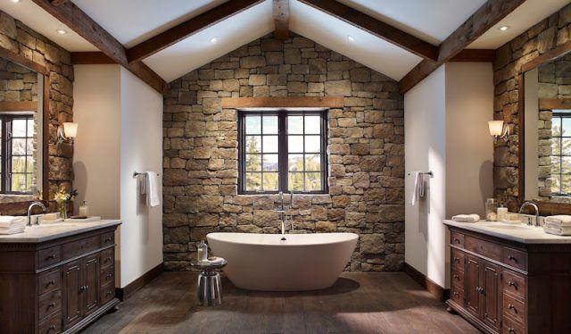 Pierre naturelle dans la salle de bain- choix, entretien, idées de