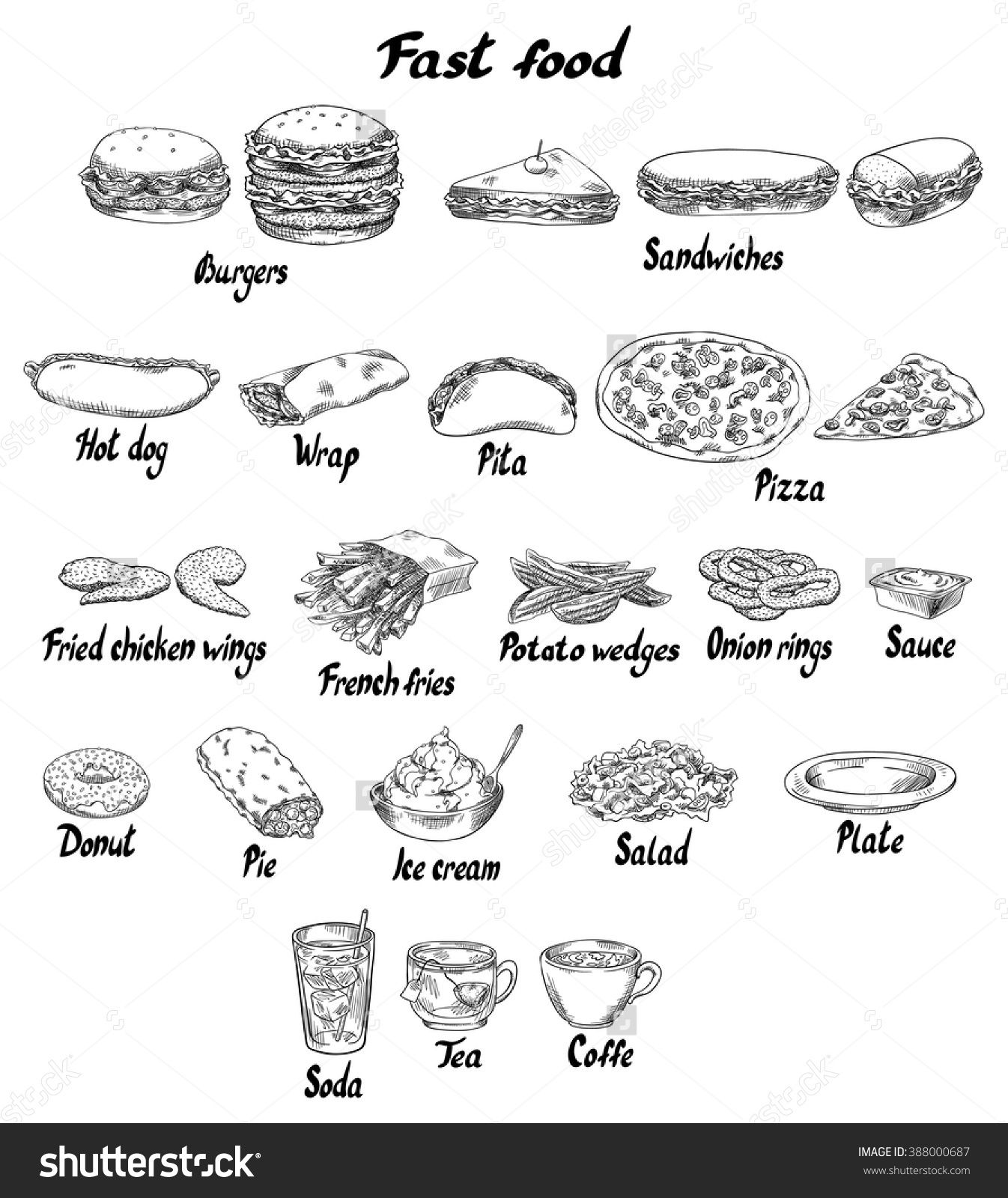 Burger Sandwich Hot Dog Wrap Pita Pizza Fried Chicken Wings French Fries Potato Wedges Onion Rings Sauce Donut Pie Ice Cream Salad Plate