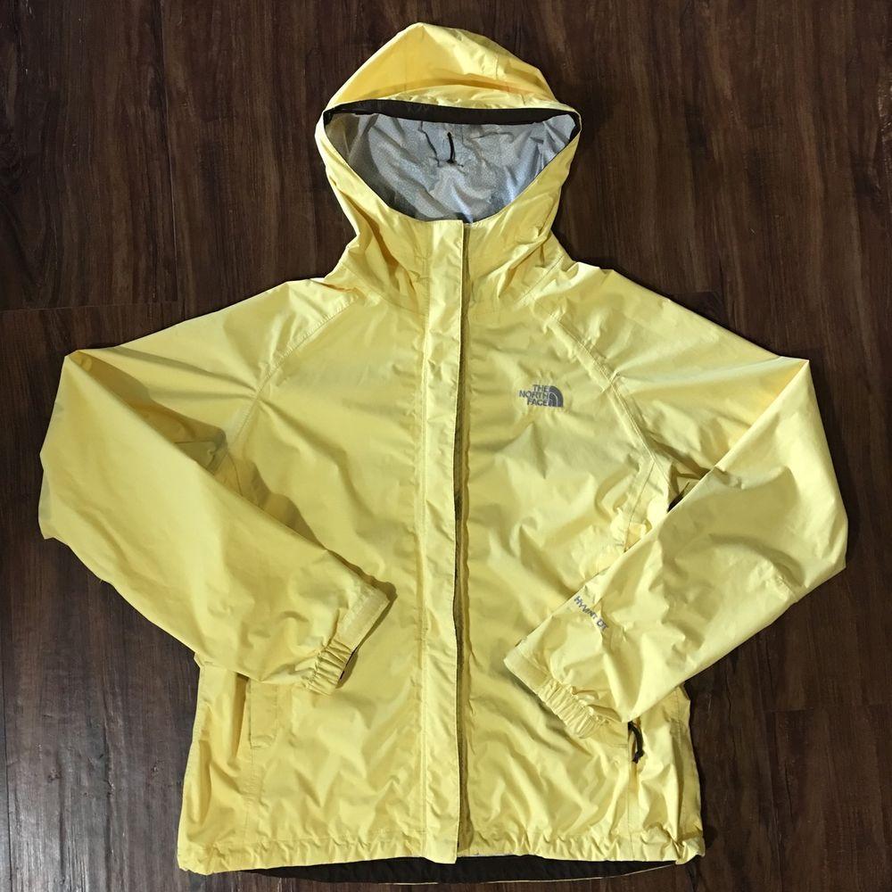 de8c83dc32 Womens The North Face Hyvent DT Hooded Rain Jacket Coat Yellow Medium