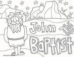 Fancy Baptism Of Jesus Coloring Page 59 John the Baptist Religious