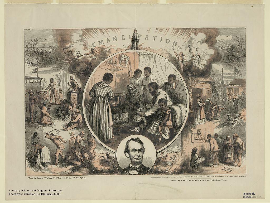 Thomas Nast ilustrador do século XIX, que se dedicava a fazer cartazes da epoca, ainda muito preso ao período vitoriano, com páginas divididas simetricamente. Esta é a obra Emancipation uma das mais conhecidas do autor