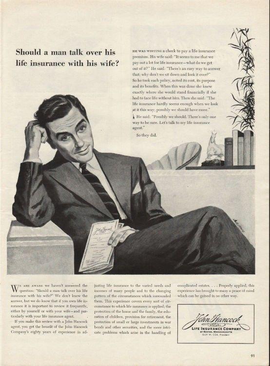 1944 John Hancock Life Insurance Company Vintage Ad ...