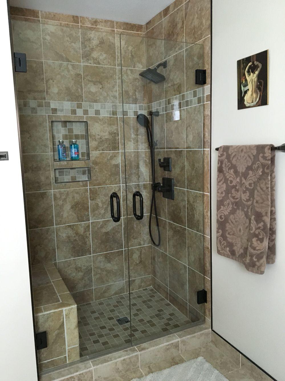 Walk in shower, Delta Dryden fixtures in oil rubbed bronze ...