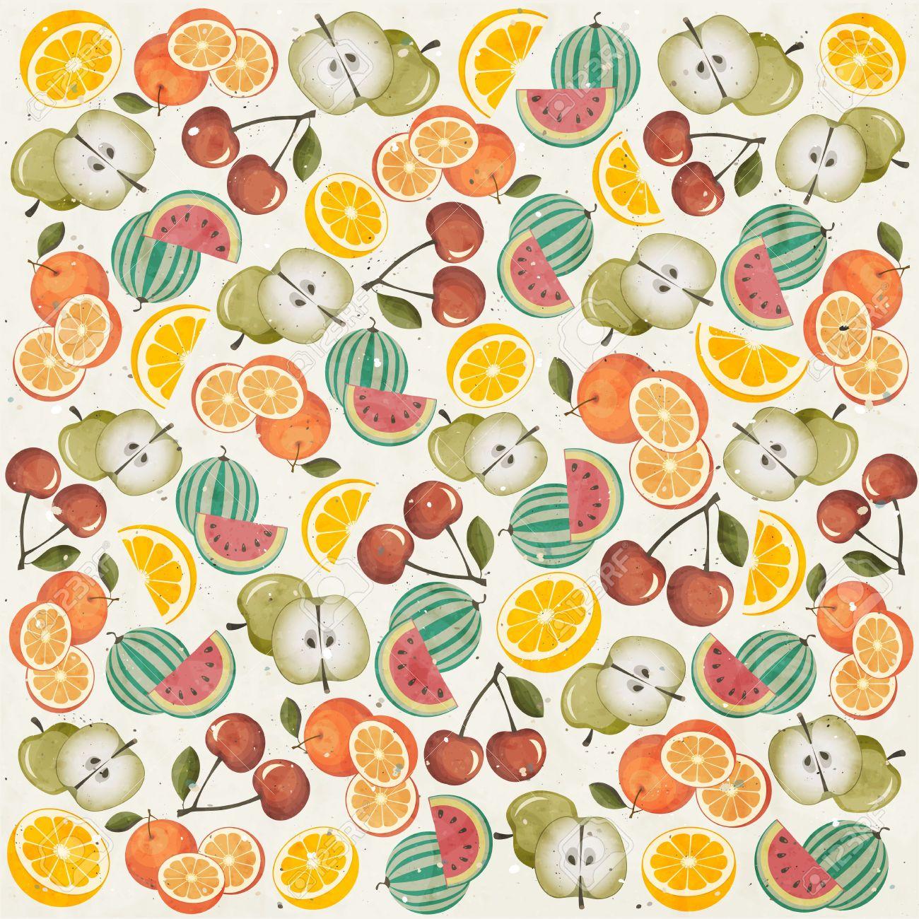Retro Wallpaper Theme Vintage Style Wallpaper Fruit Wallpaper Design Elements