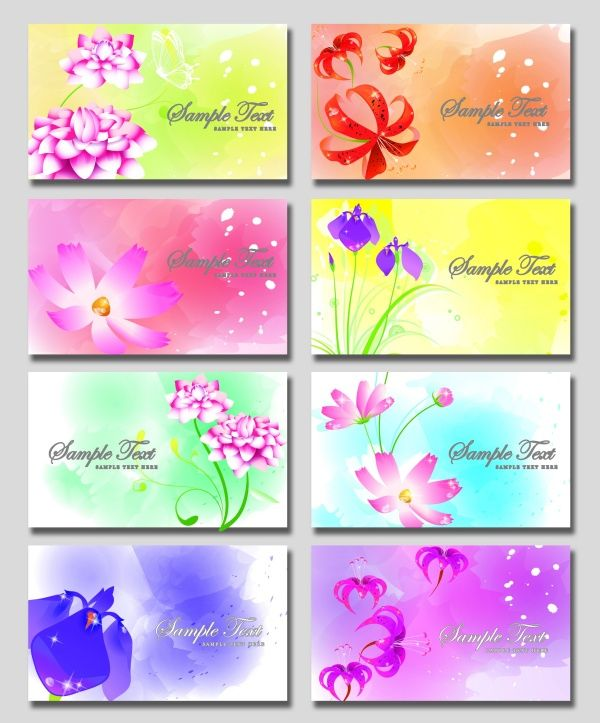 Fantasy Flower Business Card PSD Material