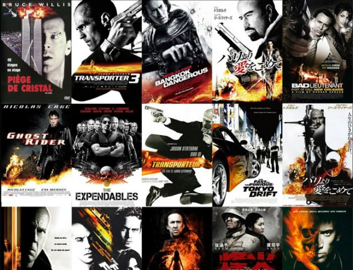 Movie Posters That Are In Bw With A Spot Of Fire Movie Posters