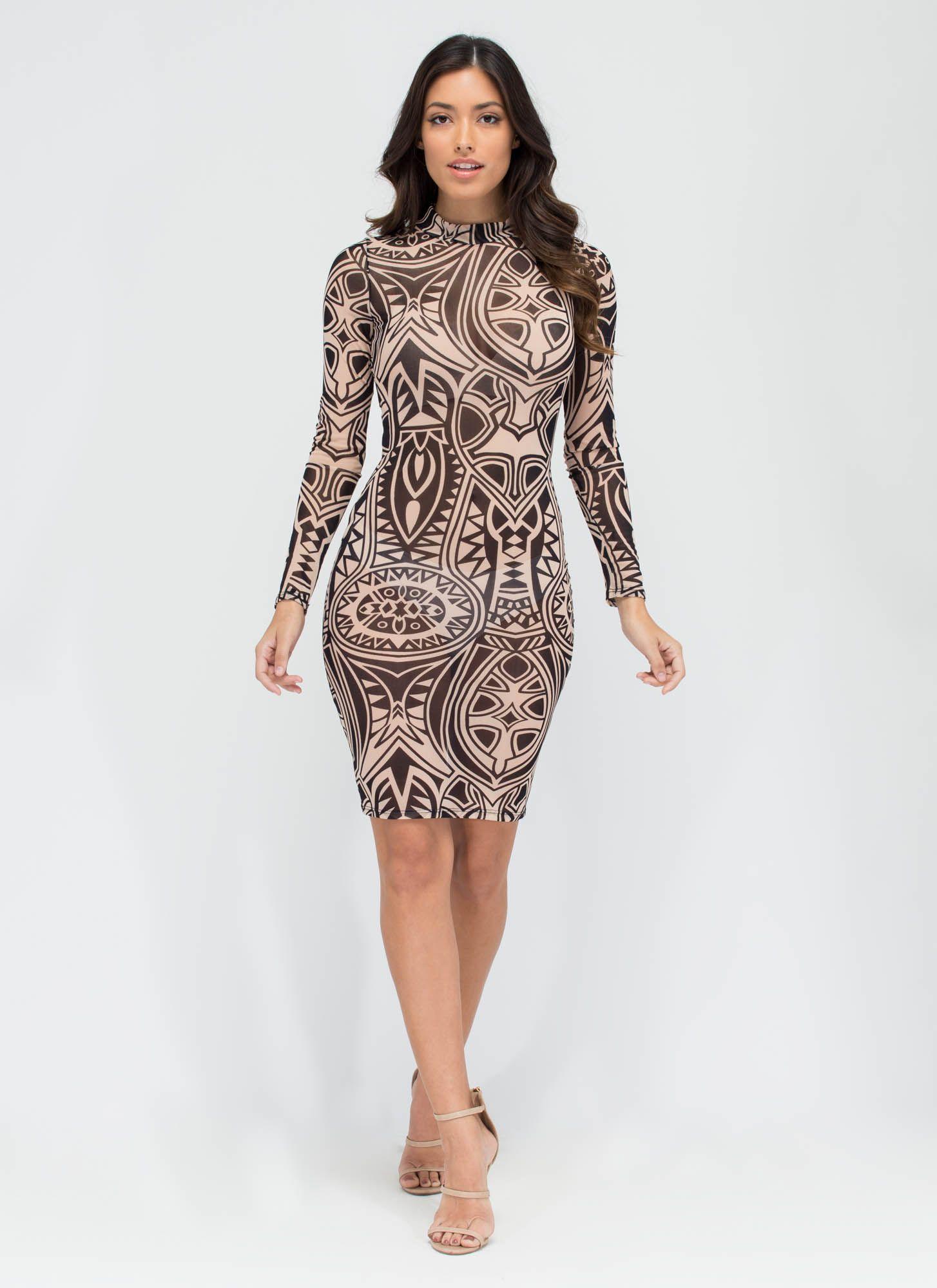 Tattoo Parlor Sheer Patterned Midi Dress BLACKTAUPE - GoJane.com ...