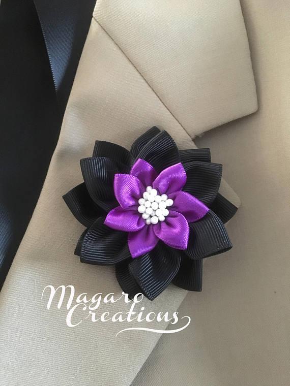 Wedding boutonniere,Men's flower lapel pin,purple