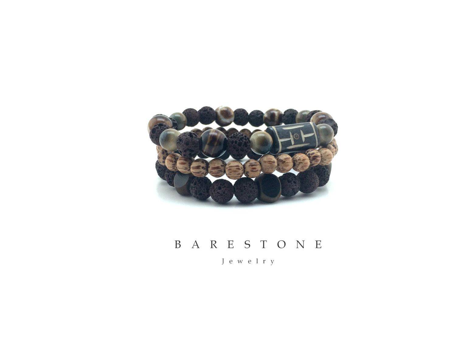 Stacking Bracelet Set Gemstone Tiger Eye Stretch Bracelets Men's Bracelet Set Ceramic Beads Agate Fall Jewelry Carved Bone Balance Symbol by BARESTONE on Etsy