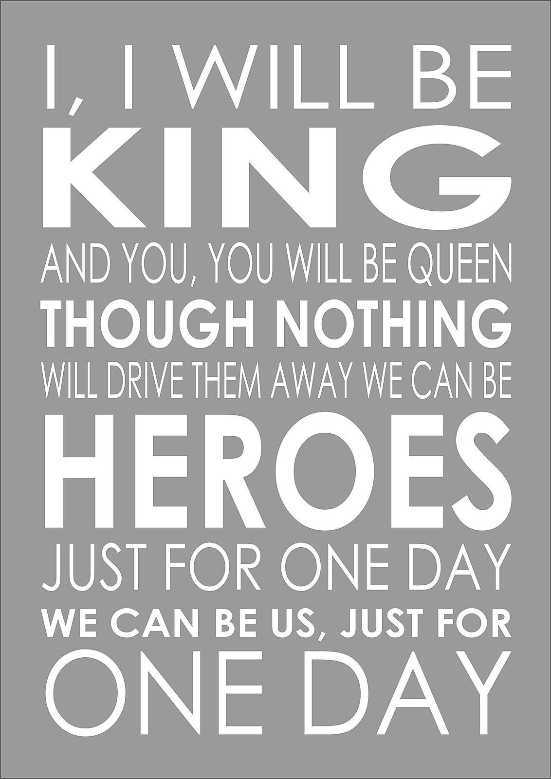 Details about Heroes David Bowie Word Wall Typography Song