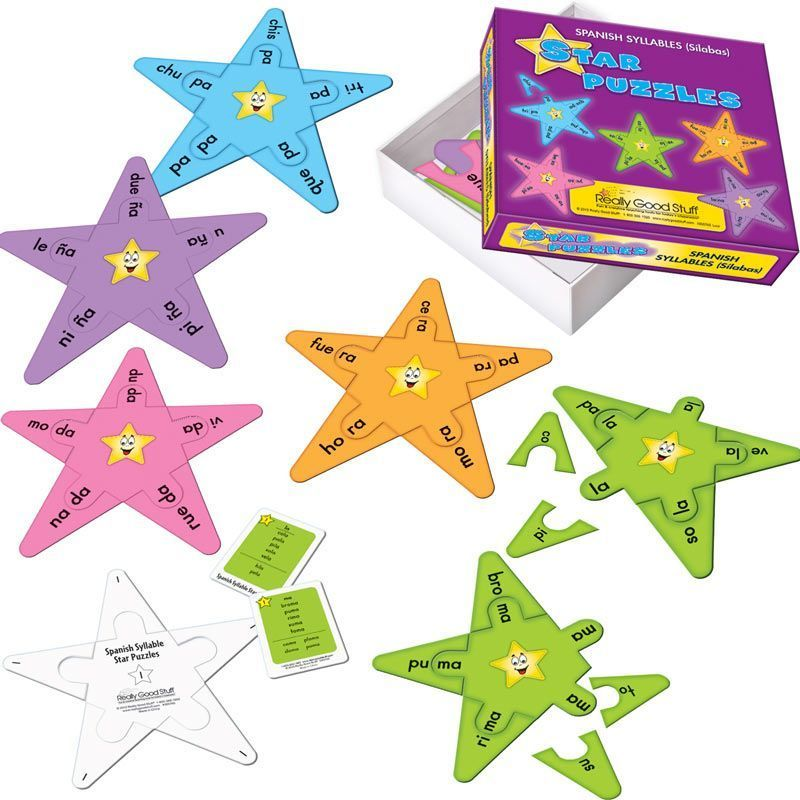 Spanish Syllable Star Puzzles - grades 1-3
