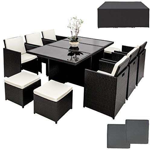 Tectake Ensemble Salon De Jardin En Resine Tressee Poly Rotin Aluminium Table Set 614 Avec Table Et Chaises De Jardin Table Et Chaises Ensemble Salon De Jardin