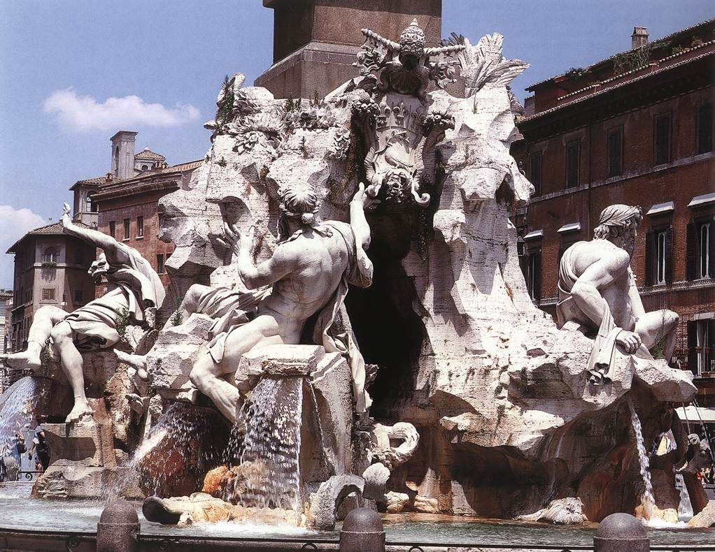 fountain of the four rivers 1648 51 travertine and marble ...