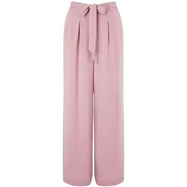Blush Belted Trousers (46 CHF) ❤ liked on Polyvore featuring pants, trousers, bottoms, pantaloni, pink pants, miss selfridge and pink trousers