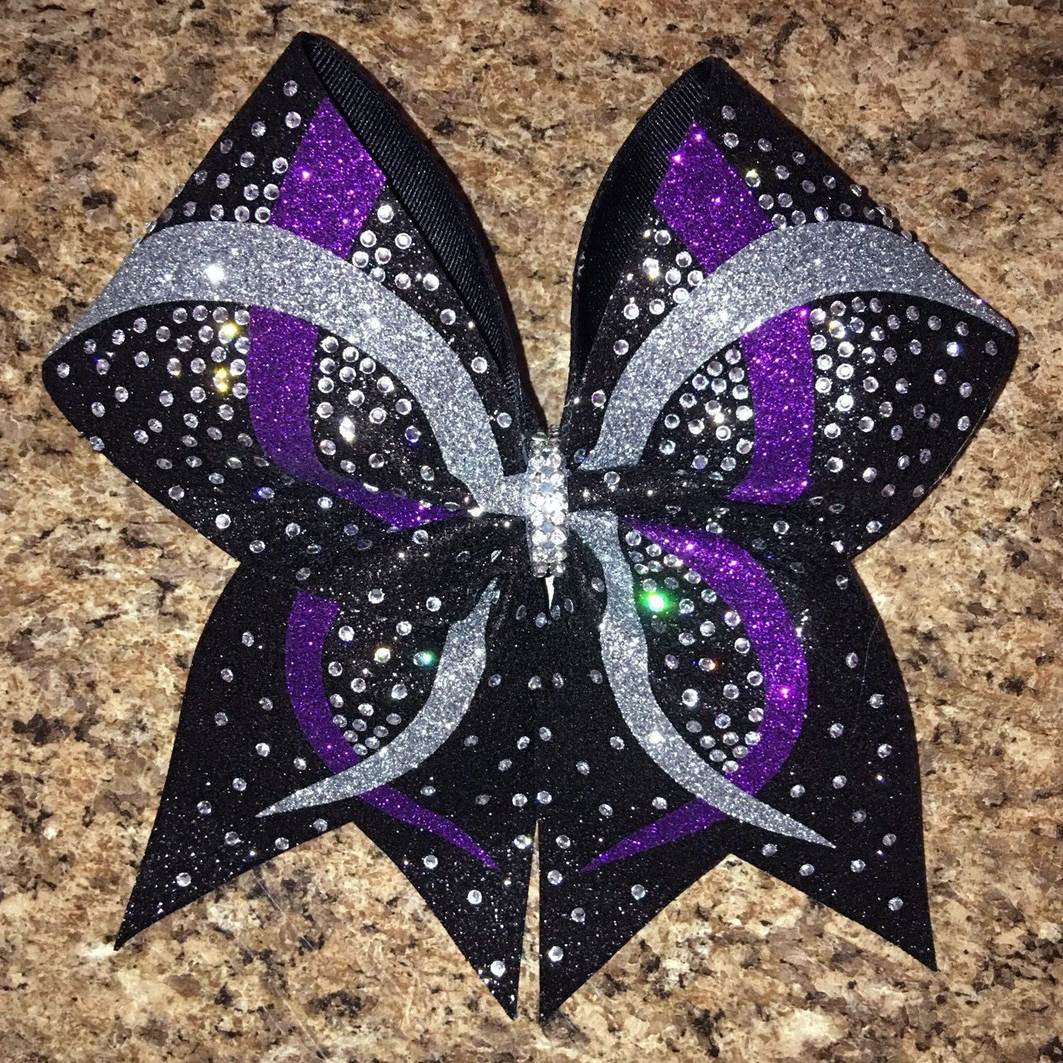 Rhinestone bow, infinity wave design cheer bow available in any ...