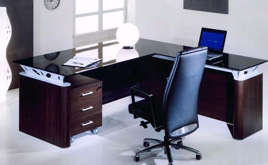 Personal Glass Top L Shaped Computer Office Table And Chairs Modern Office Furniture Desk Office Furniture Modern Contemporary Office Furniture