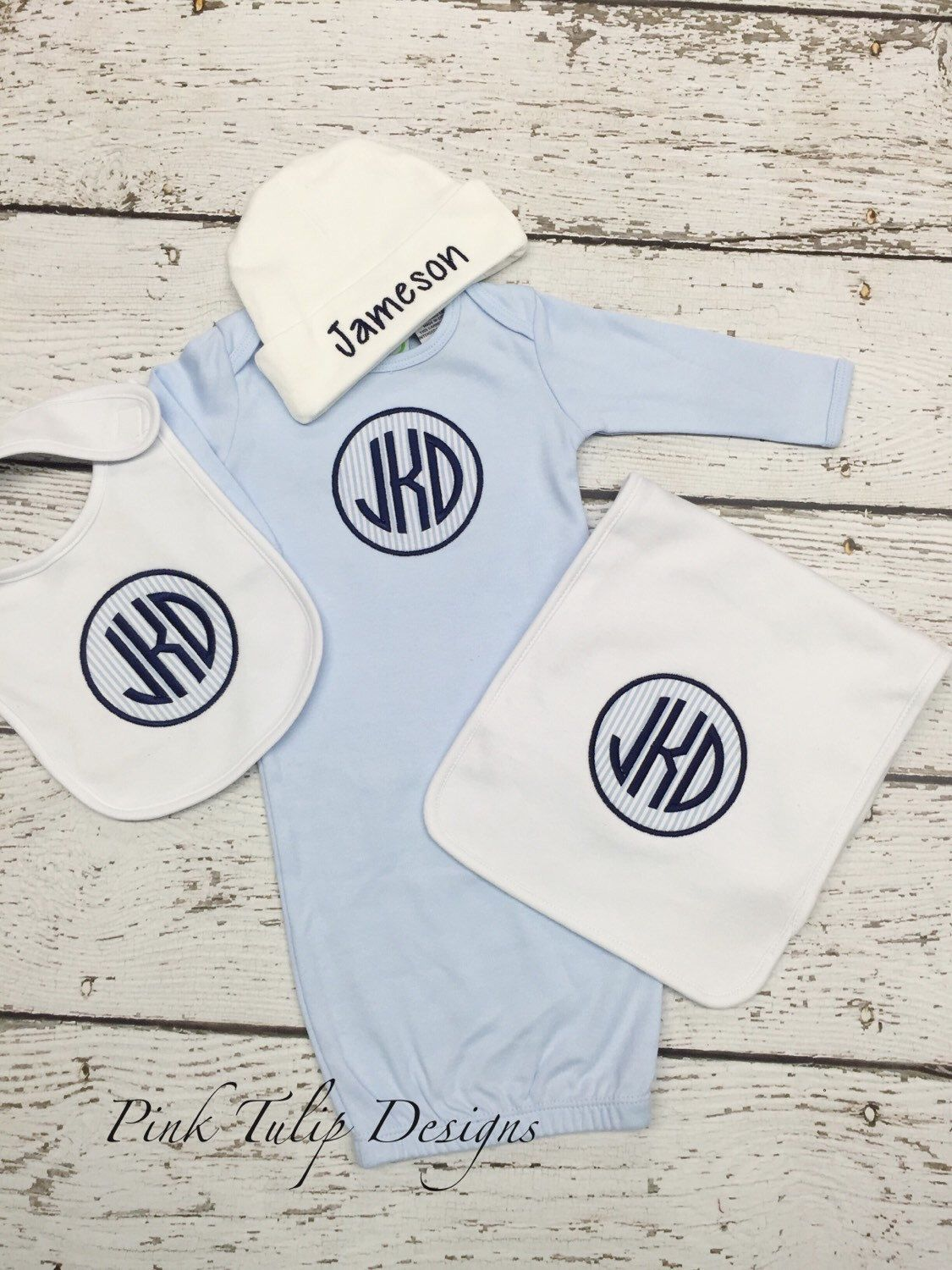 Baby Boy Monogrammed Gown, Cap, Bib, and Burp Cloth Set by PinkTulipOfDaphne on Etsy https://www.etsy.com/listing/261912771/baby-boy-monogrammed-gown-cap-bib-and