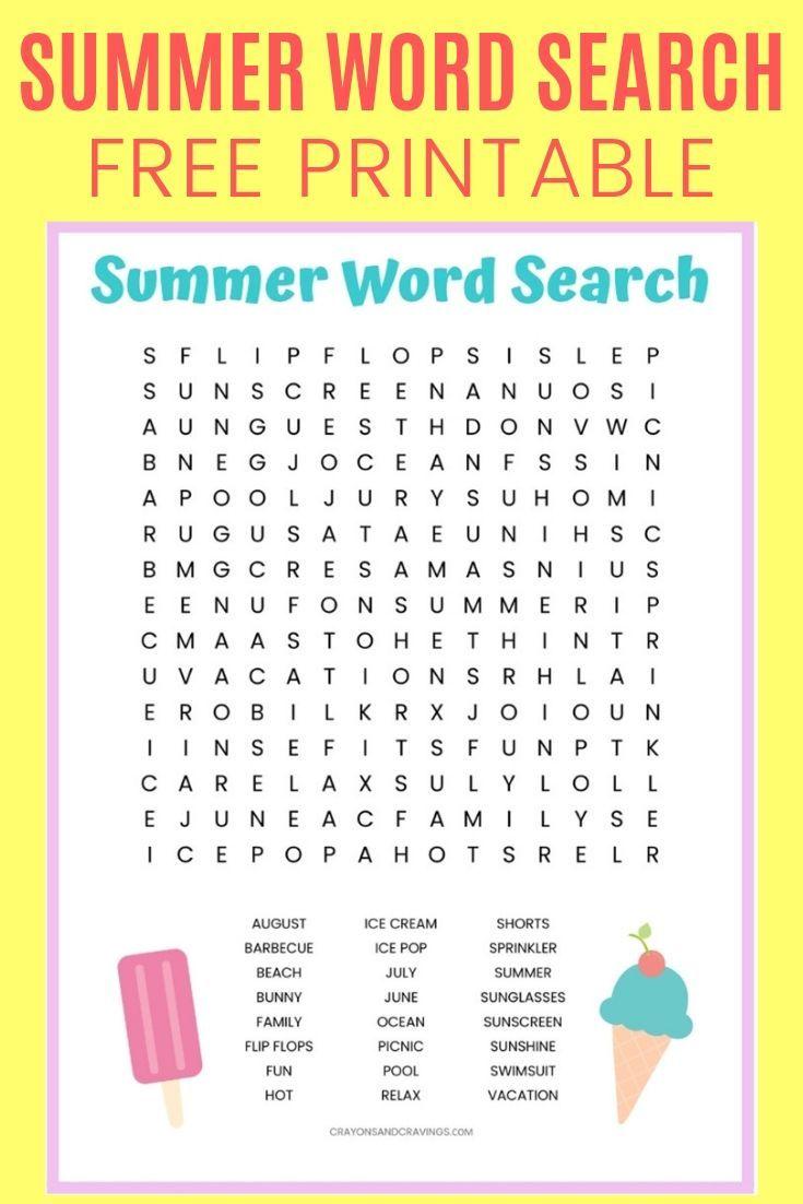 Summer Word Search Printable Summer Words Kids Worksheets Printables Summer Worksheets