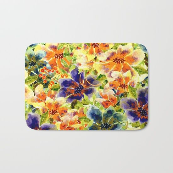 vivid floral Bath Mat