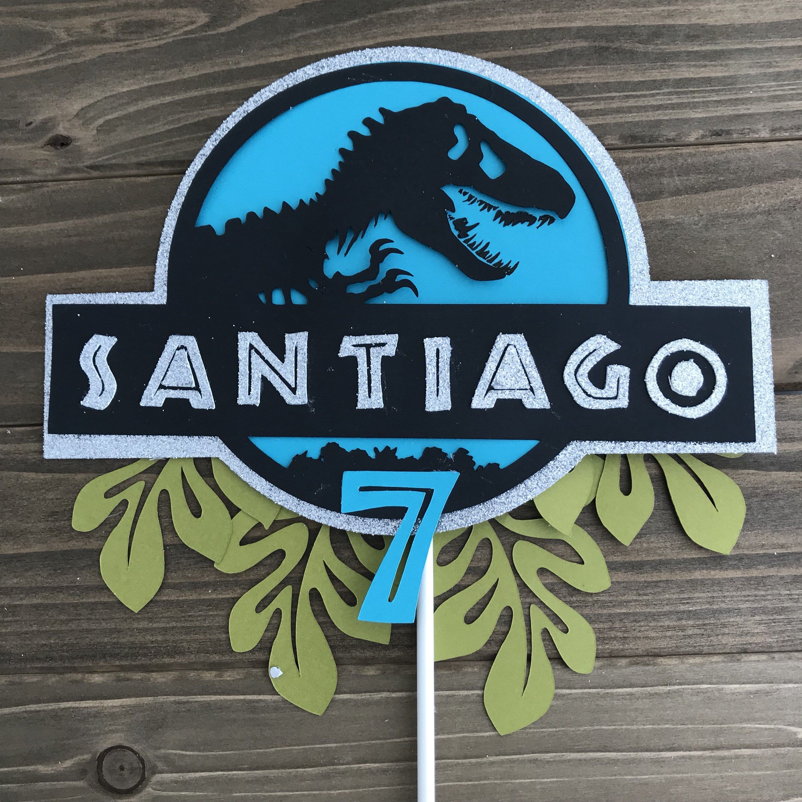 Personalized Jurassic Park Dinosaurs Theme Topper Party Favor