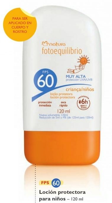 Loción protectora para niños, con factor 60.
