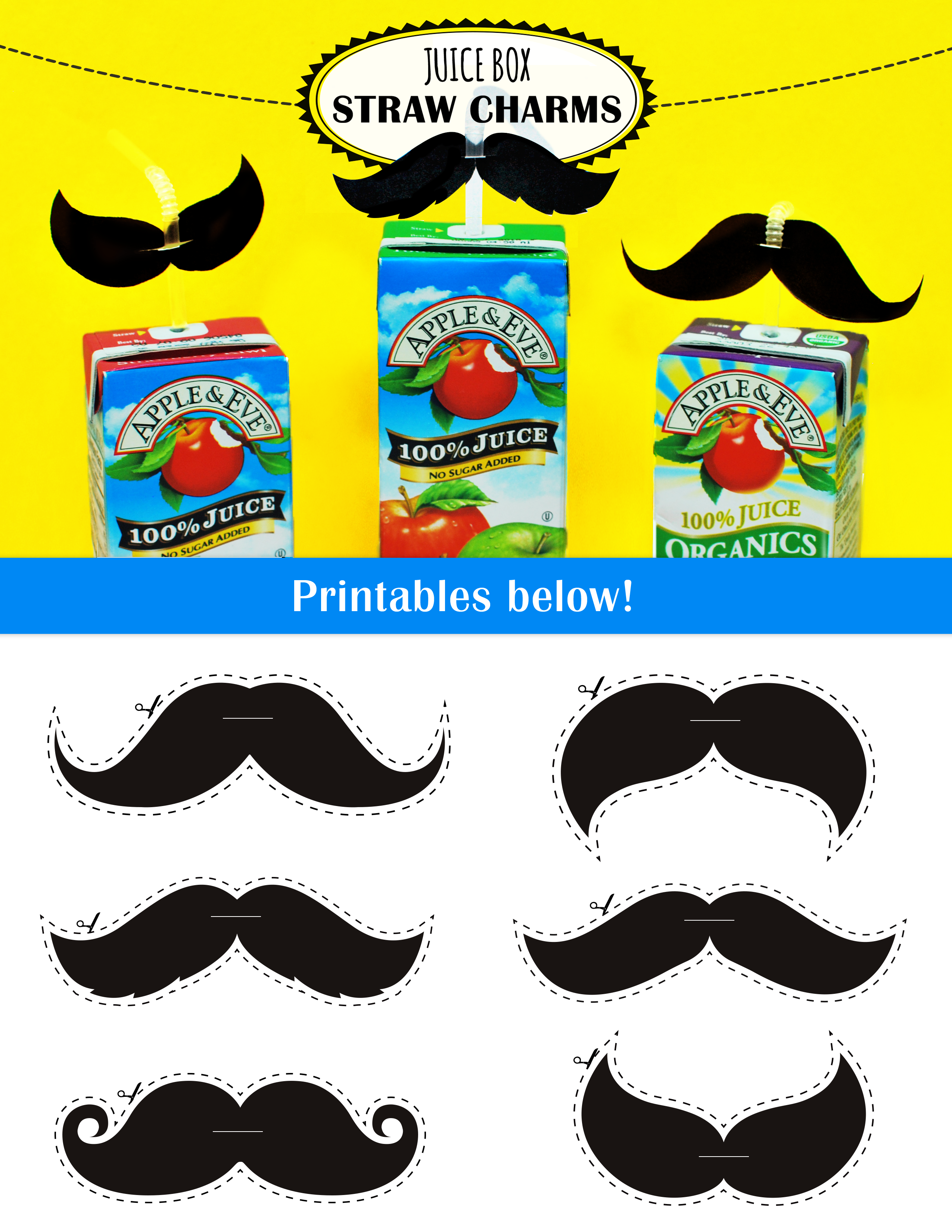 Print Out These Awesome Mustaches For The Kids Juice Box