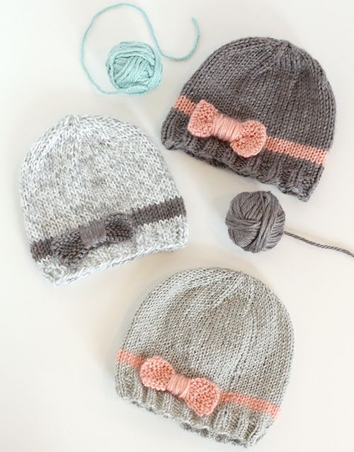 We Like Knitting  Knit Bow Baby Hats - Free Pattern  62e03b0c943