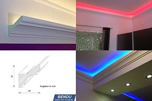 Fabulous Stuckleisten Lichtprofil f r indirekte LED Beleuchtung von Wand und Decke Stuckleiste aus Hartschaum