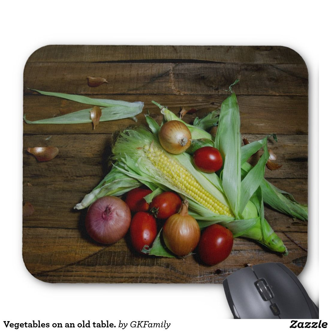 Vegetables on an old table. mouse pad