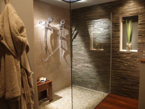 fliesen aus naturstein wandnische dekoration | bad | Pinterest ... | {Badezimmer fliesen steinoptik dusche 26}
