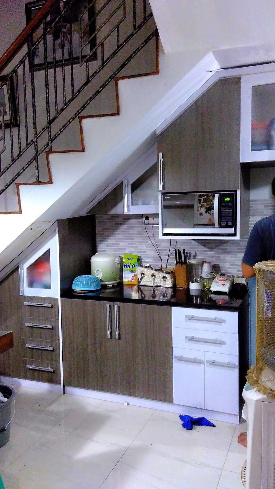 Minimalist Kitchen Set Under The Stairs