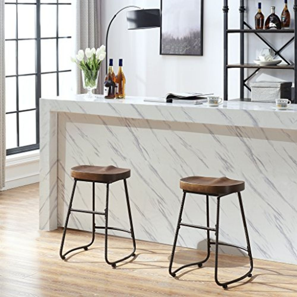 Contoured Saddle Seat 24 Inch Backless Bar Stool Chair For Home Kitchen Island Or Counter O K Furniture Wooden Barstool With Metal Leg Vintage Walnut Backless Bar Stools Bar Stool Chairs Industrial Bar