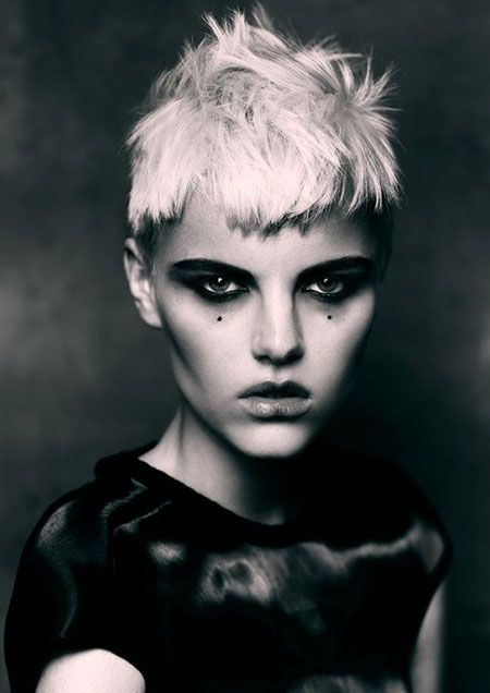 Short Messy Spikes Haircut with Blunt Front