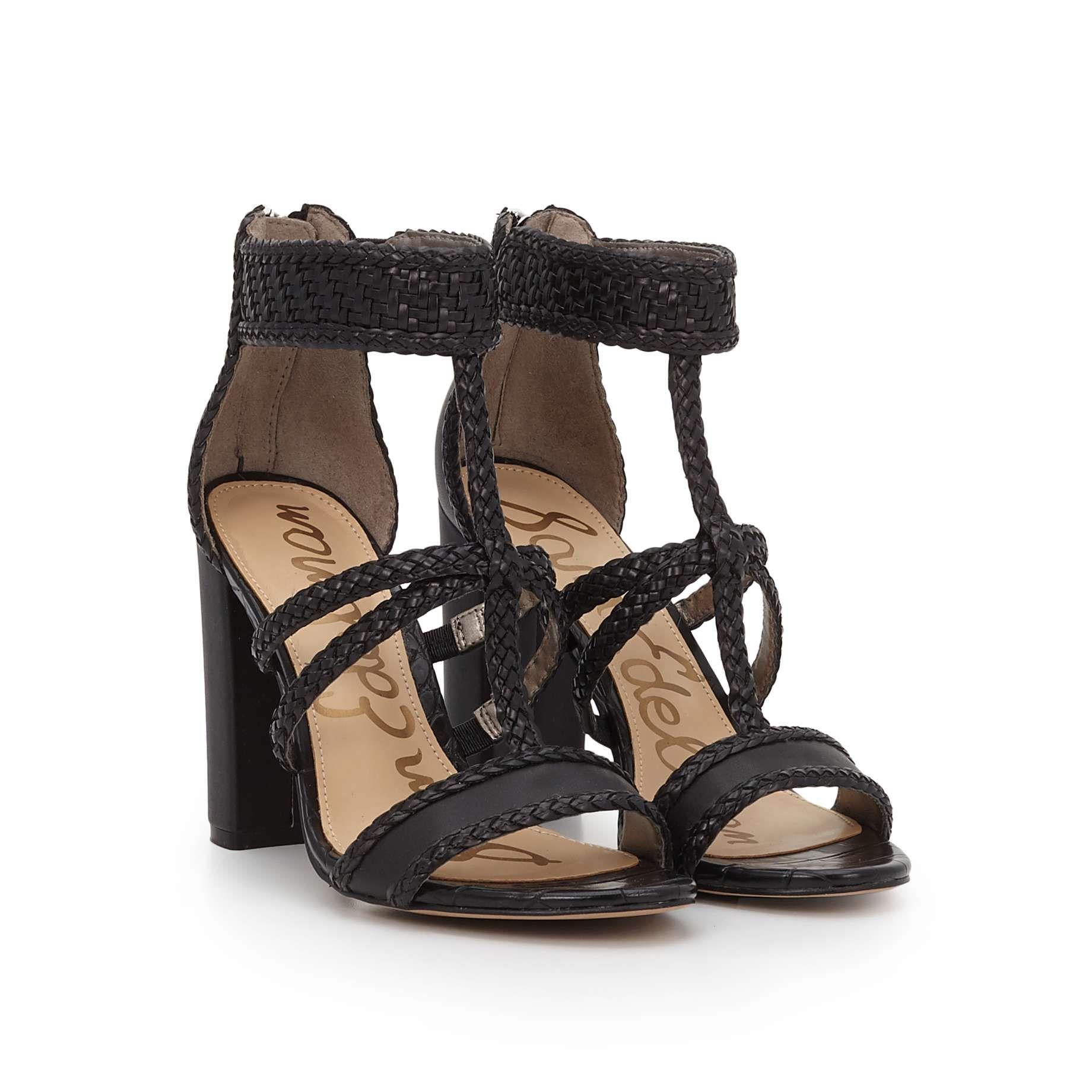 a34dbcb22a501 Yordana Woven T-Strap Sandal by Sam Edelman - Black Woven Leather - View 1