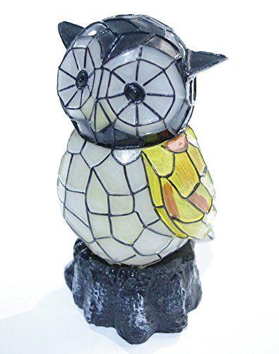 Mosaic Owl Garden Ornament Solar Powered Glowing Statue 400 x 300